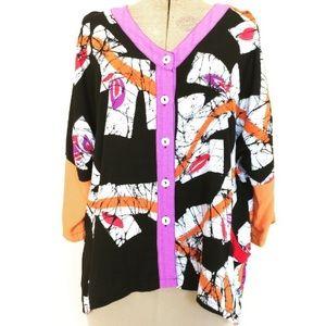 Lyng Designs wearable art textiles blouse rayon M